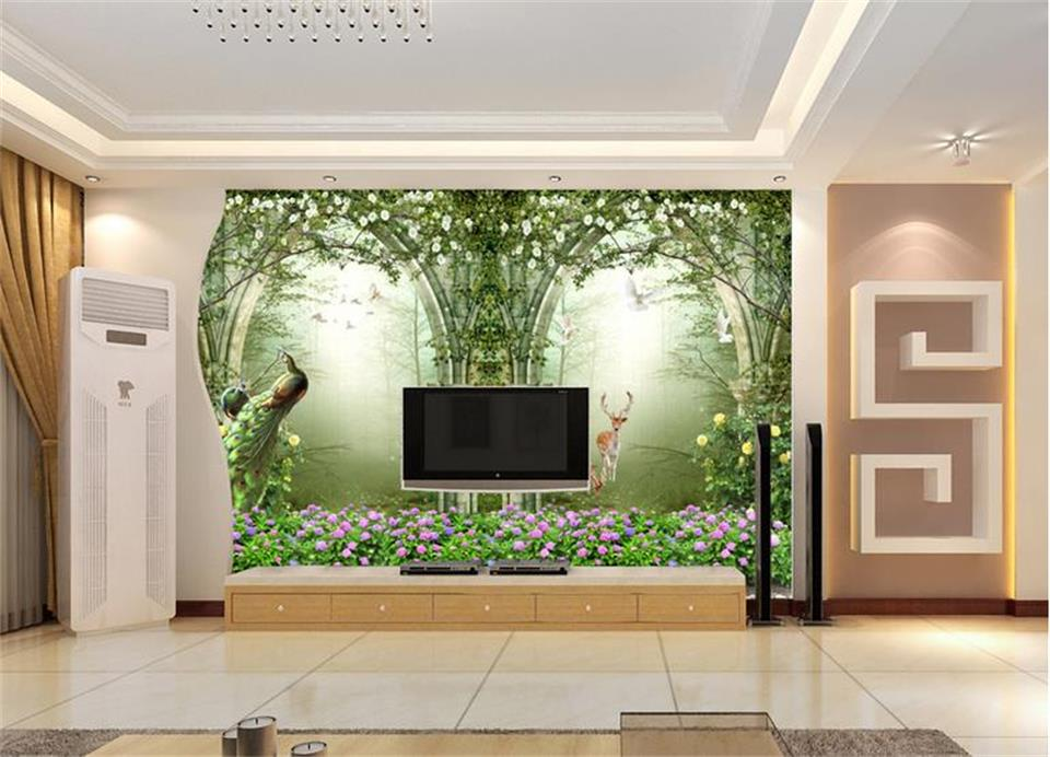 custom 3d photo wallpaper kids room mural Arches Forest Landscape peacock painting TV background non-woven wallpaper for wall 3d customize wallpaper for walls 3 d swan lake picture in picture 3d tv backdrop 3d photo wall mural 3d landscape wallpaper