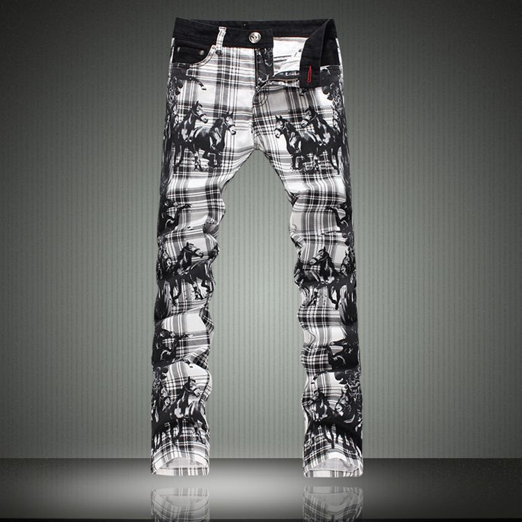 Plaid print jeans male slim elastic male flower pants jeans trousers made in china jeans