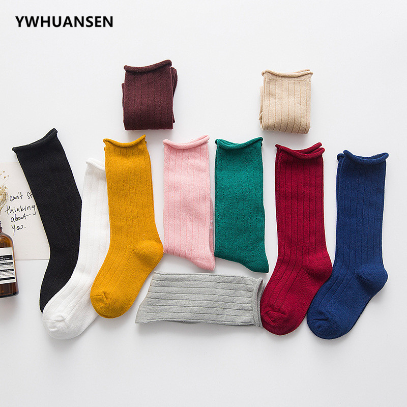 YWHUANSEN Spring Summer Short Socks Candy Color Boys Girls Cotton Socks For Children Fashionable Socks Baby Accessories Kids