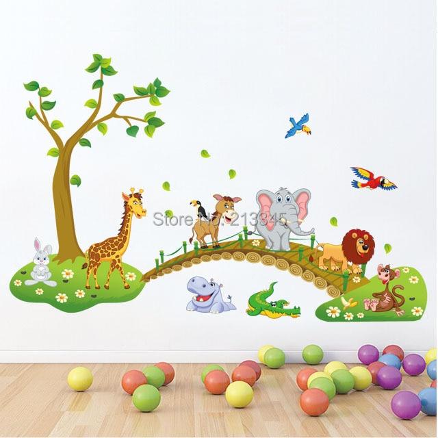 Fundecor hot sale diy horse giraffe animals across the bridge wall stickers for kids room