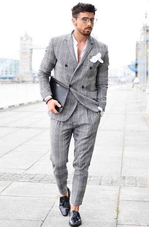 英国スタイル格子縞のスーツ男性2017安いスーツ用男性スリムフィットタキシードノッチラペル花婿の付添人の結婚式のブレザー(ジャケット+パンツ)