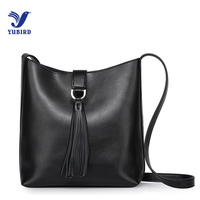 YUBIRD Tassel Lady Bucket Bag Black Female Hobo Bag Real Leather Soft Women Shoulder Bag Classic