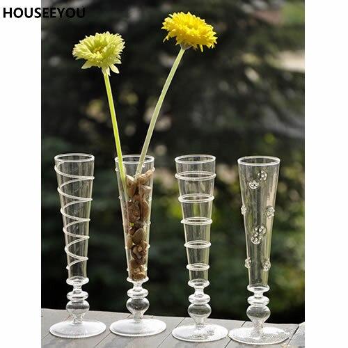 modelos delgadas altas de mesa florero de cristal claro jarrones de flores para el hogar comedor
