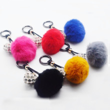 все цены на New 6CM Fluffy Rabbit Fur Ball Key Chain Silver heart pendant Pompom Artificial Rabbit Fur Keychain Women Car Bag Key Ring онлайн