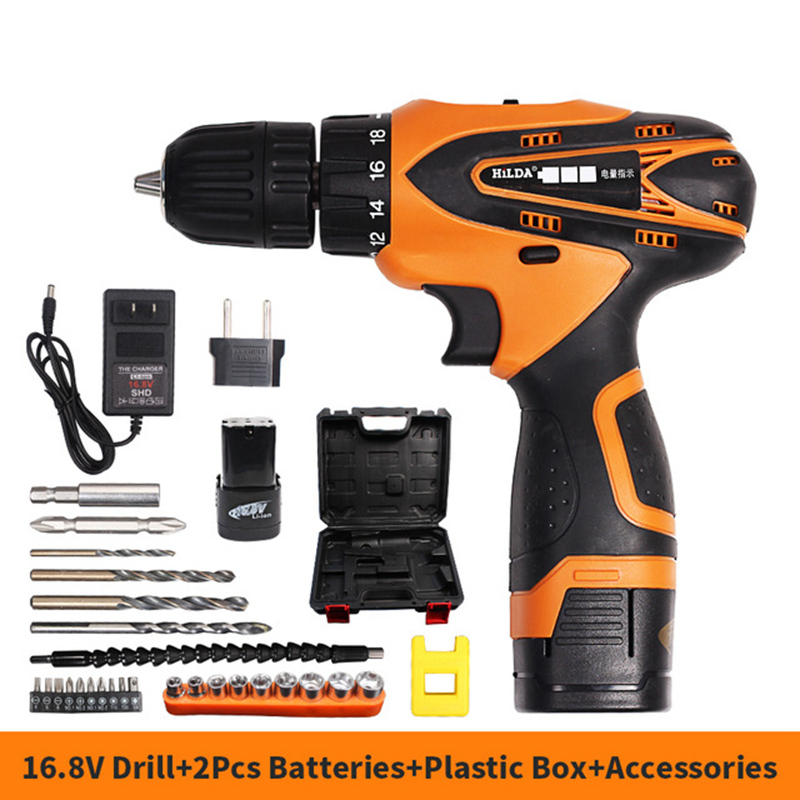 цена на 16.8V Cordless Screwdriver Electric Drill Two-Speed Rechargeable Lithium Battery*2 with Drill Bit Accessories Set
