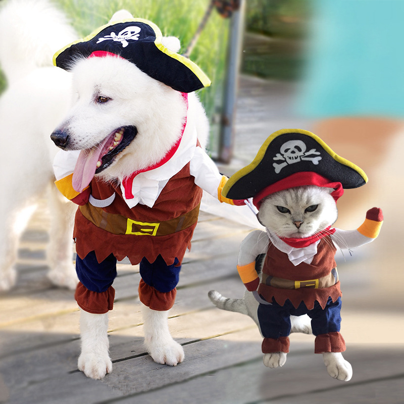 New Pet Dog Clothes Dog Coat Suit Spring/Summer for Cats Funny Costumes Creative Cool Pet Dog Cat Cosplay Pirate Cute Cartoon