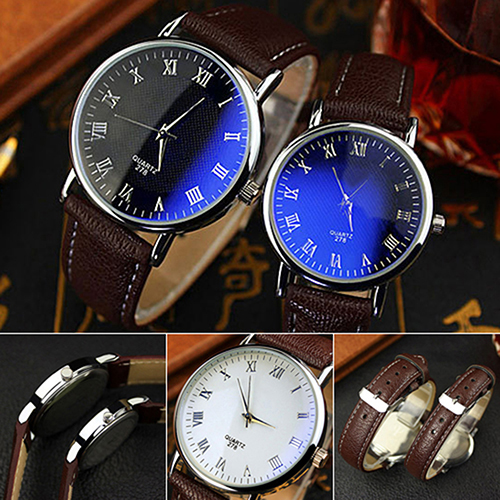 New And Fashion Couple Watches Office Men's Women's Blue Light Glass Roman Numerals Analog Quartz Wrist Watch 5LGA 6T2T C2K5W