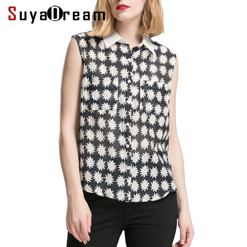 Women Blouses 50% REAL silk 50%Cotton Two Pockets Sleeveless Printed Blouse shirt 2018 Spring Summer new