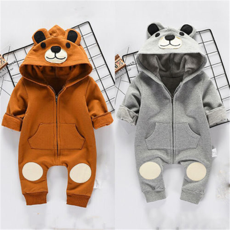 CANIS Baby   Rompers   Newborn Kids Baby Boy Girl   Romper   Long Sleeve Autumn Winter Bear Jumpsuit Hooeded Clothes Outfits   Rompers   Kid