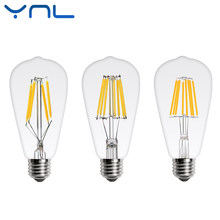 YNL Retro Vintage led Edison bulb E27 ST64 AC 220V 2W 4W 6W 8W transparent clear Glass shell LED Filament light For Chandelier(China)