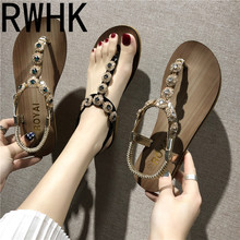 RWHK 2019 summer new fairy female flat with rhinestones a word sandals womens shoes B466