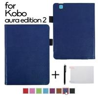 Folio Book Style PU Leather Cover Case For KOBO Aura Edition 2 6 Inch E Books