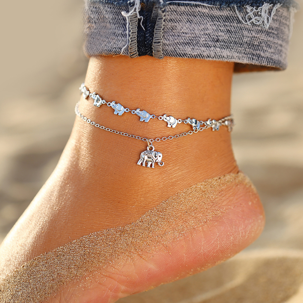 IF ME Bohemian Vintage Silver Color Flower Anklets for Women Multilayer Beach Bracelet on Leg Ankle Foot Female Jewelry 2019 NEW 2