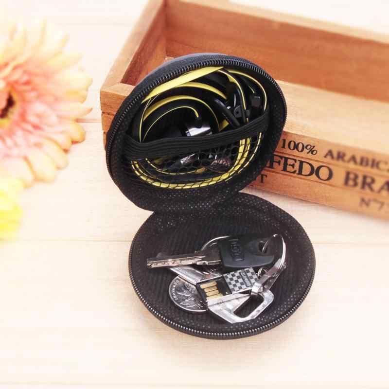 Mini caso eva redonda fone de ouvido fone de ouvido bluetooth cabo caixa de armazenamento chave moeda dura titular caixa hold caso acessórios do fone de ouvido