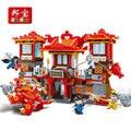 Kit de construcción modelo compatible con lego castillo Negro Dragón Templo aficiones 3D modelo de construcción de juguete bloque Educativo para los niños