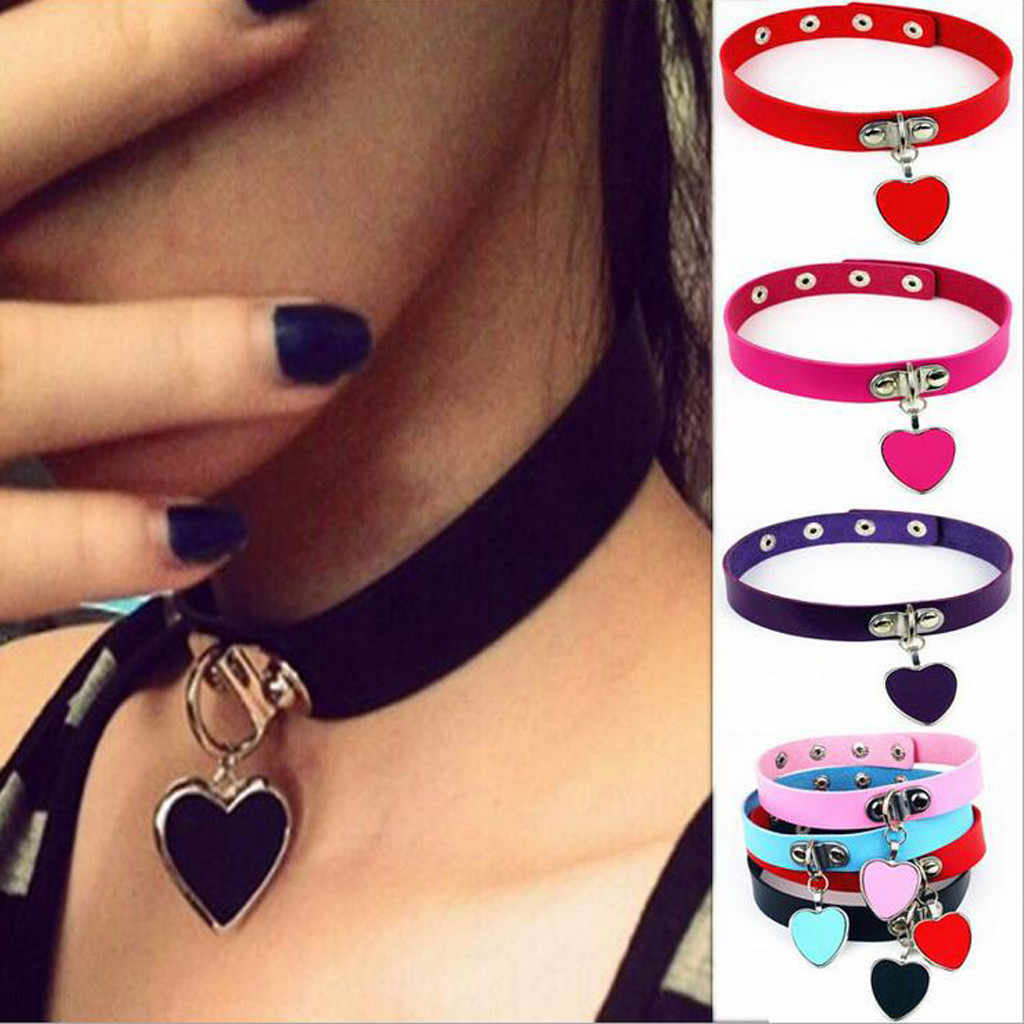 Harajuku Punk Rock Gothic Sexy PU Leather Heart Round Spike Rivet Collar Choker Necklace Body Jewelry Birthday Party Gift @3