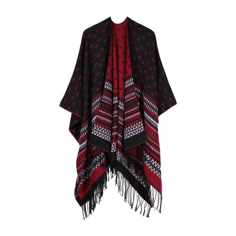 Ethnic Style Popular Splits Increase Shawl Cloak Autumn And Winter Wild Warm Fashion Shawl