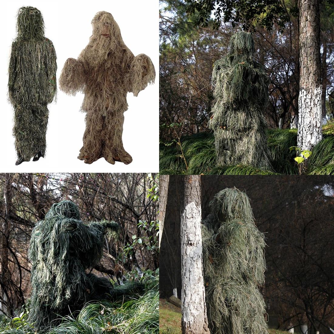Nouvelle Réglable Taille Unisexe Camouflage Costumes Woodland Vêtements Ghillie Costume Pour La Chasse Armée Militaire Tactique Sniper Set Kits