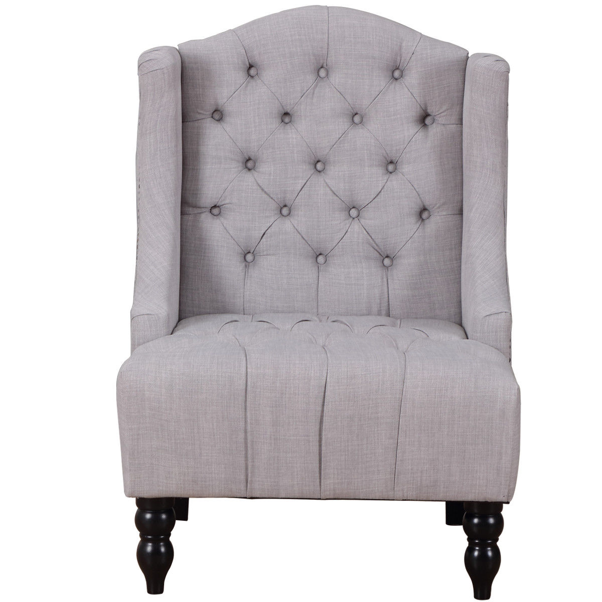 Giantex Modern Tall Wingback Tufted Accent Armchair Living
