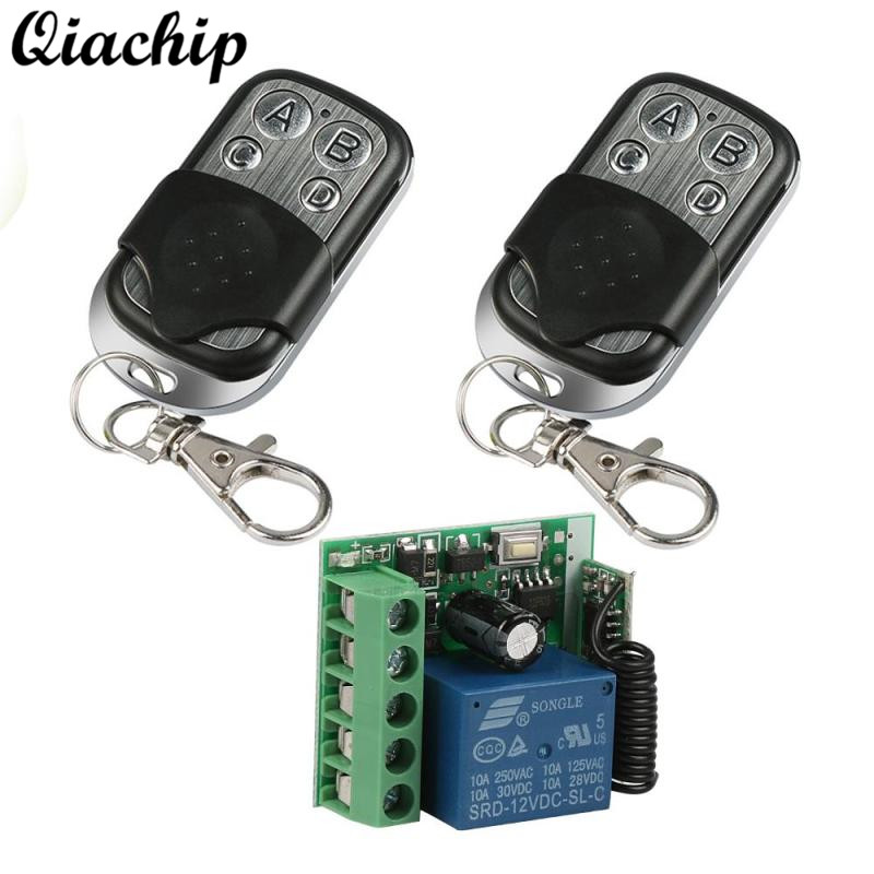 QIACHIP Remote Control Switch 433Mhz Wireless DC 12V 1CH Button Relay Receiver Module and RF 433 MHZ Transmitter Remote Controls