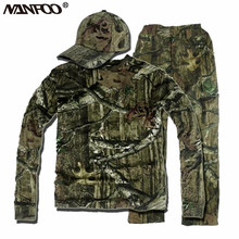 Spring Summer Green Bionic Camouflage Suits Breathable Hunting Ghillie Suits  Absorbent Durable Fishing Clothing Full Length set