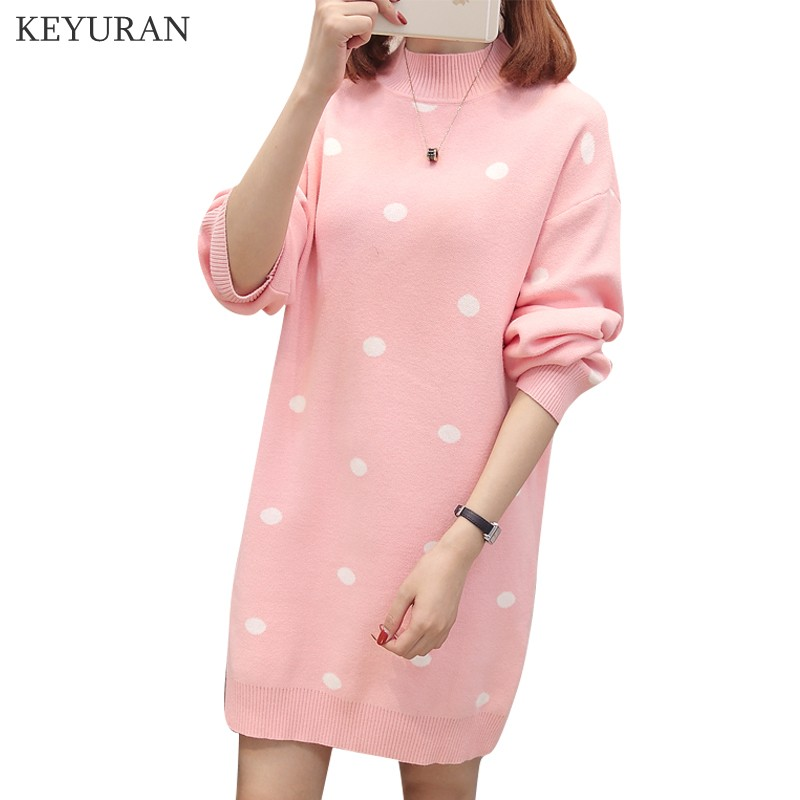 2019 Autumn Winter Women Pullover Sweater Dress Female Long Sleeve Dot Pattern Half High Collar Knitted Loose Dresses Plus Size