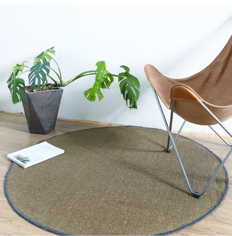 Tapis Simple de Sisal solide et tapis pour le salon chambre Table à thé Tatami tapis avec sol antidérapant tapis rond en Jute sur mesure