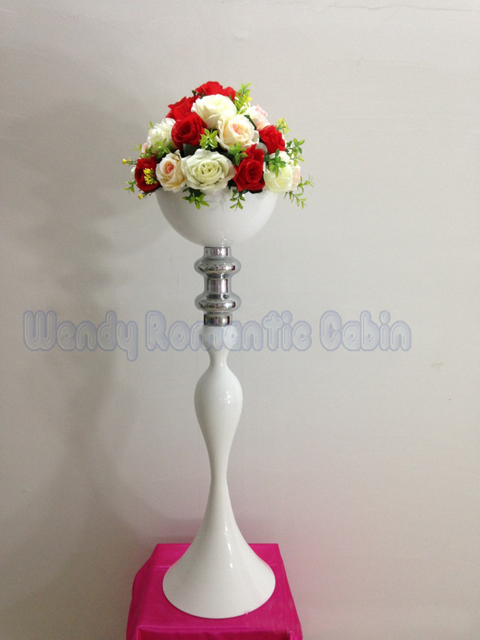 80cm Tall 10pcs/lot Wedding White road lead metal flower Vase Stand ...