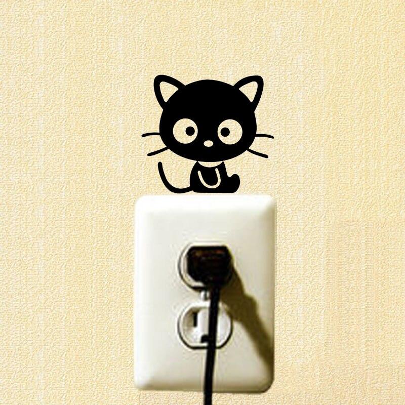 Черная кошка Приключения переключатель Наклейки милый маленький черный Товары для кошек Мяу звезды животное Стикеры Наклейки на стены 2ss0508
