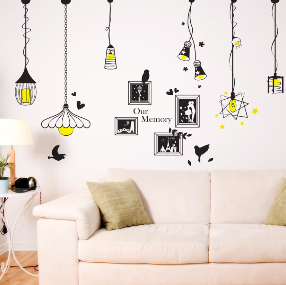 Image 3 - Creative Chandelier Photo Wall Sticker Bedroom Living Room Porch Background Decoration Sticker For Wall Decorations Living Room-in Wall Stickers from Home & Garden