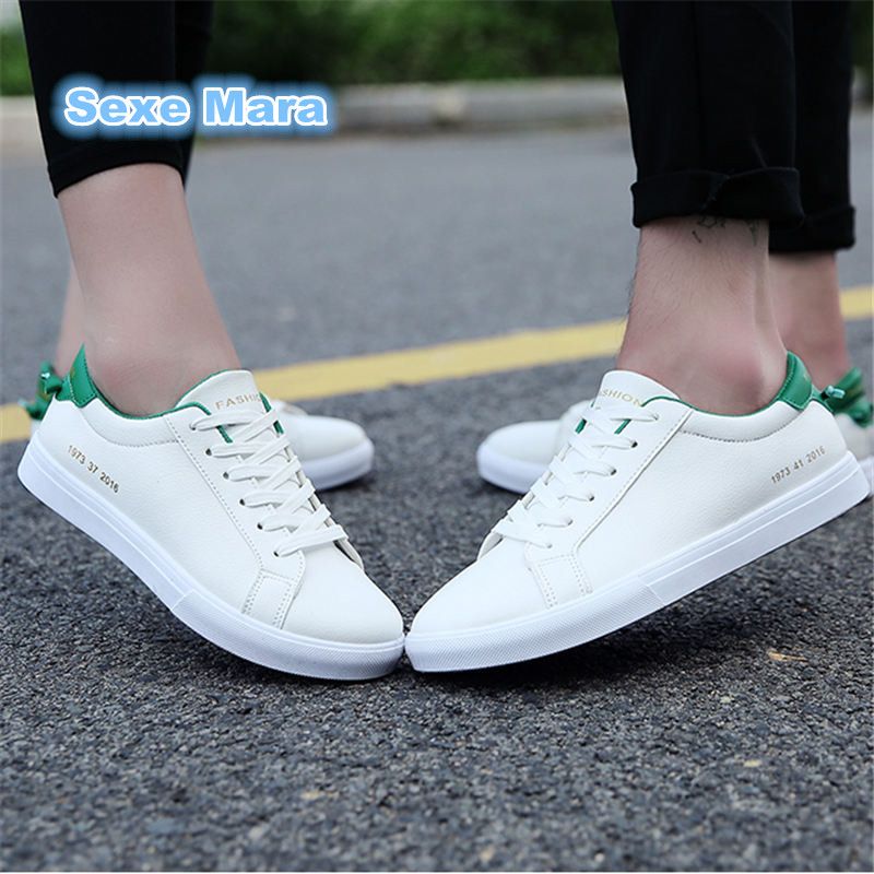 High quality 2018 sneakers men sport shoes men  leather White running shoes for men Walking Trainers light Soft zapatos hombre