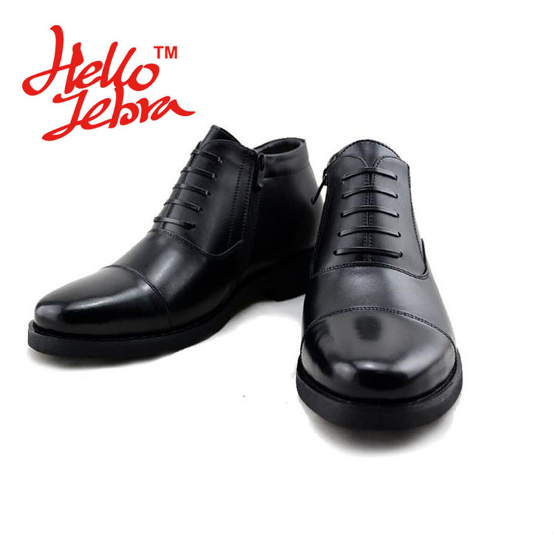 Men Leisure Boots Business Warm Winter Genuine Leather Men s Cotton Shoes Comfortable Pointed Toe Solid