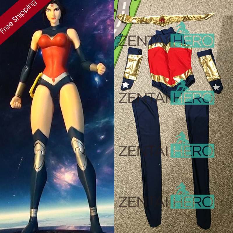 Free Shipping DHL NEW Navy Blue And Red Wonder Woman Costume Bodysuit 2016 Superhero Halloween Zentai