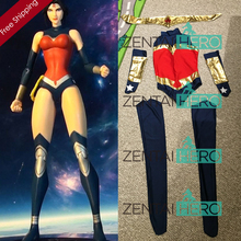 Free Shipping DHL NEW Navy Blue And Red Wonder Woman Costume Bodysuit 2016 Superhero Halloween Zentai Suit Fancy Dress WW0810