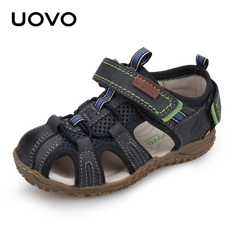 Uovo EUR 25~36 2018 New Sandals Boys & Girls Summer suede Sandals Kids Sports Soft Leather Sandals