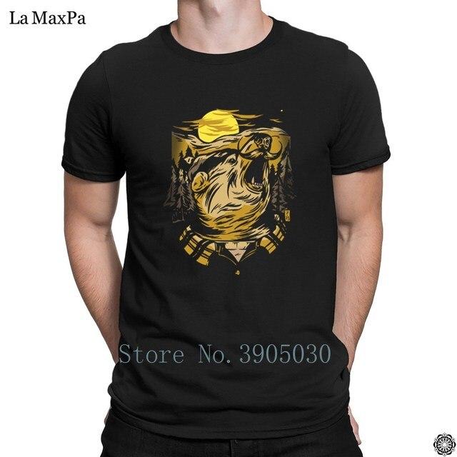 9b76e650f748f Tricoté Printemps Automne Mince T-Shirt Pour Hommes Ours Lumber Jack T-shirt  Drôle