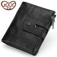 New double leather zipper three fold wallet men's short soft wallet oil wax leather casual wear purse