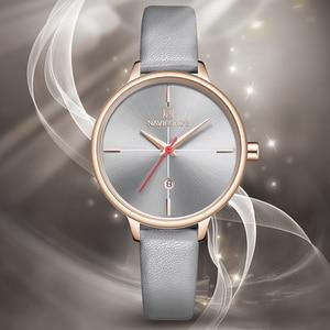 Image 4 - NAVIFORCE Women Watches Top Luxury Brand Quartz Watch Lady Fashion Leather Clock Waterproof Date Girl Wristwatch Gift for Wife