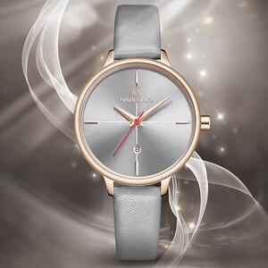 Image 4 - NAVIFORCE zegarki damskie Top Luxury Brand zegarek kwarcowy Lady Fashion zegarek ze skórzanym paskiem wodoodporny data dziewczyna zegarek prezent dla żony
