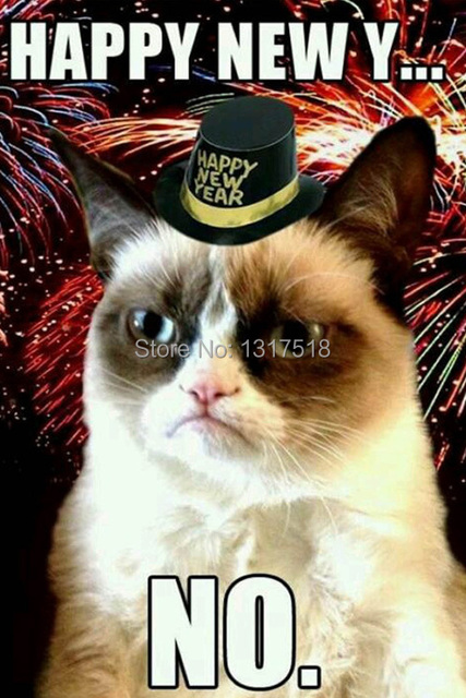 big sales decals posters 50x75cm happy new year grumpy cat say no home wall poster