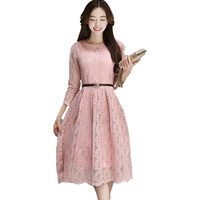 2017 Spring Summer Fashion Long Sleeve Plus Size Women Lace Dress Slim Hollow Out Party