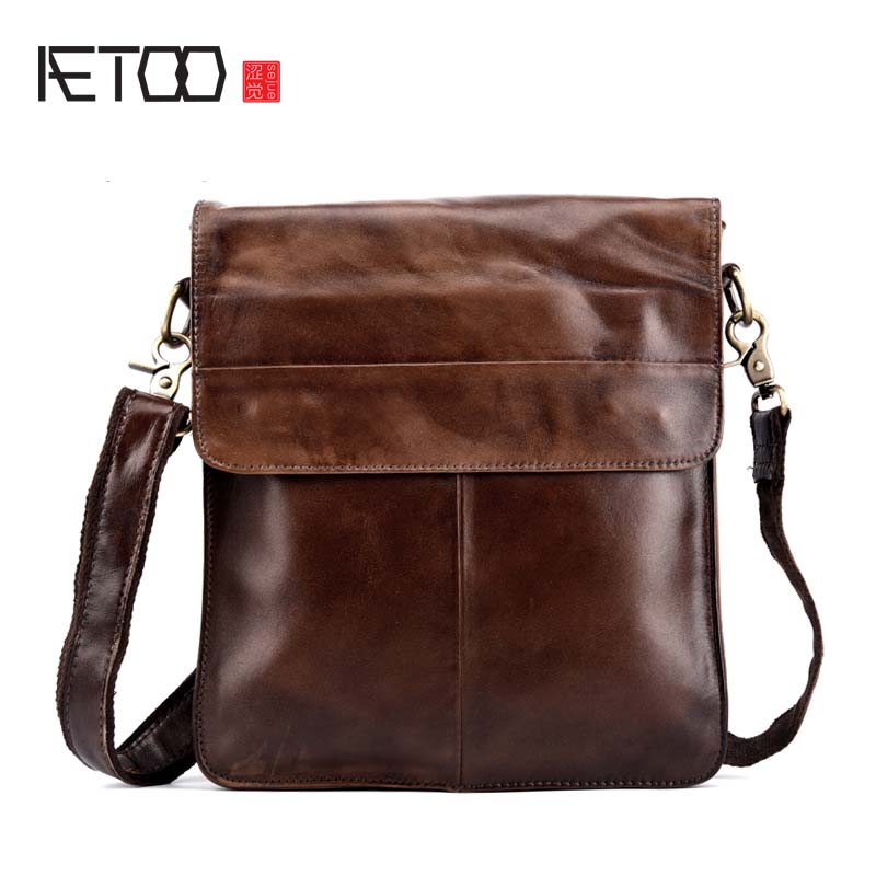 AETOO Genuine leather men bag men messenger bags small shoulder bags crossbody bag small men's leather handbag Hot sale hot 2017 genuine leather bags men high quality messenger bags small travel black crossbody shoulder bag for men li 1611
