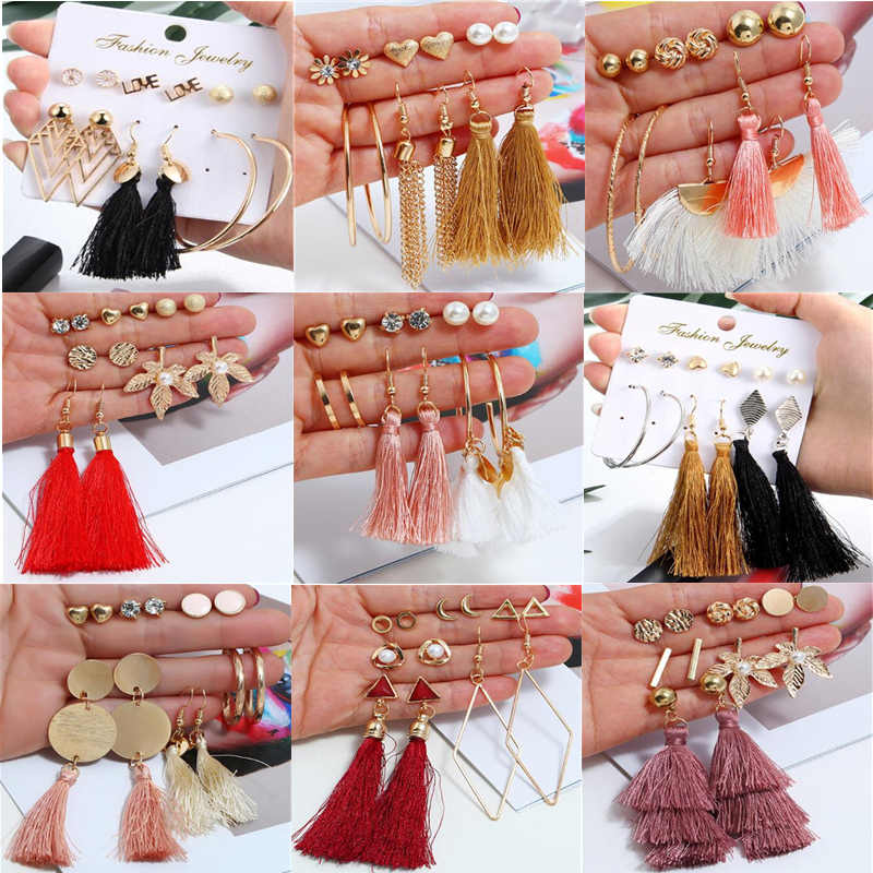 6 Pairs/set Fashion Tassel Round Stud Earrings Set for Women Trendy Mixed Black Acrylic Statement Korean Long Earrings Sets