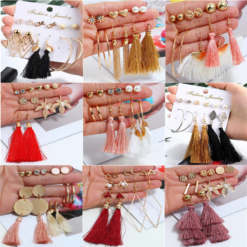 6 Pairs/set Fashion Tassel Round Stud Earrings Set for Women Trendy Mixed Black Acrylic Statement Korean Long Earrings Sets image