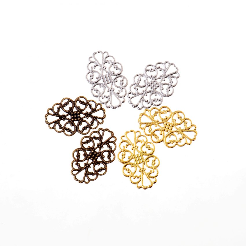 Free Shipping 50Pcs Filigree Flower Wraps Connectors Metal Crafts Decoration DIY Findings Connectors 32x20mm