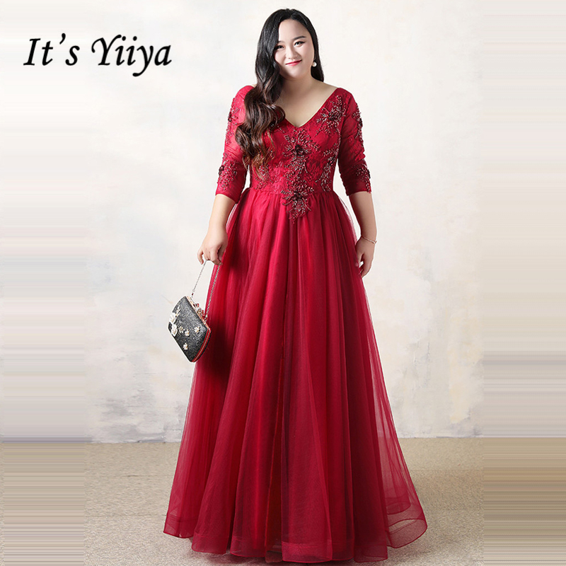 It's YiiYa   Evening     Dress   2018 V-Neck Plus Size Fashion Designer Floor Length Lace Up Tulle A-Line Girls Party   Dress   DM062