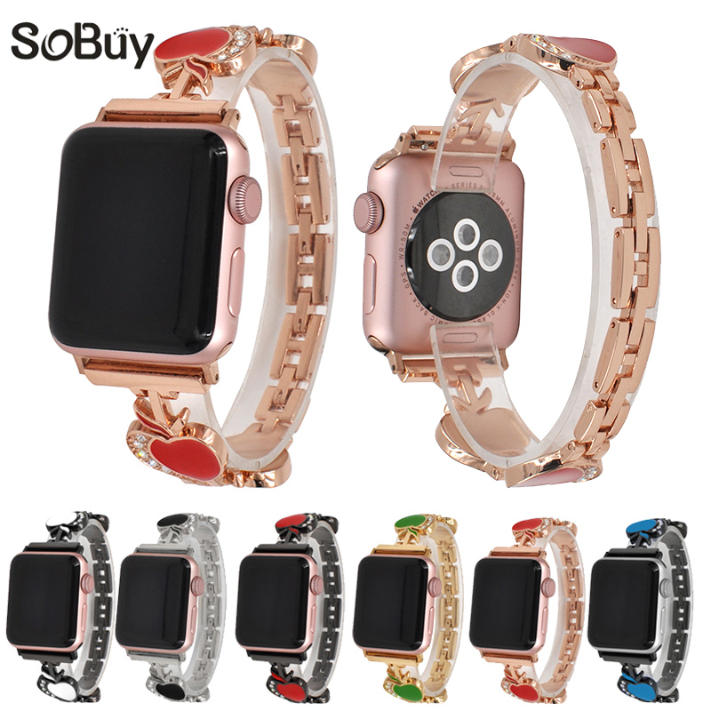 So buy inlay Diamond Stainless Steel Female Wrist Strap for Apple Watch iwatch band 38mm/42mm series 3/2/1 metal Link bracelet