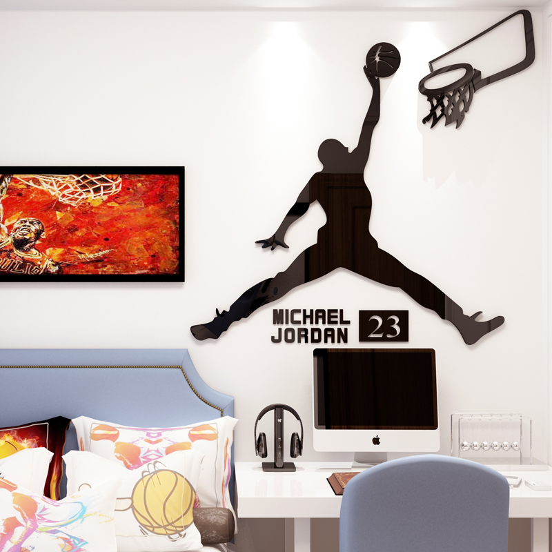 Basket étoile slam dunk 3d stickers muraux acrylique décoration murale sport garçons chambre dortoir autocollants