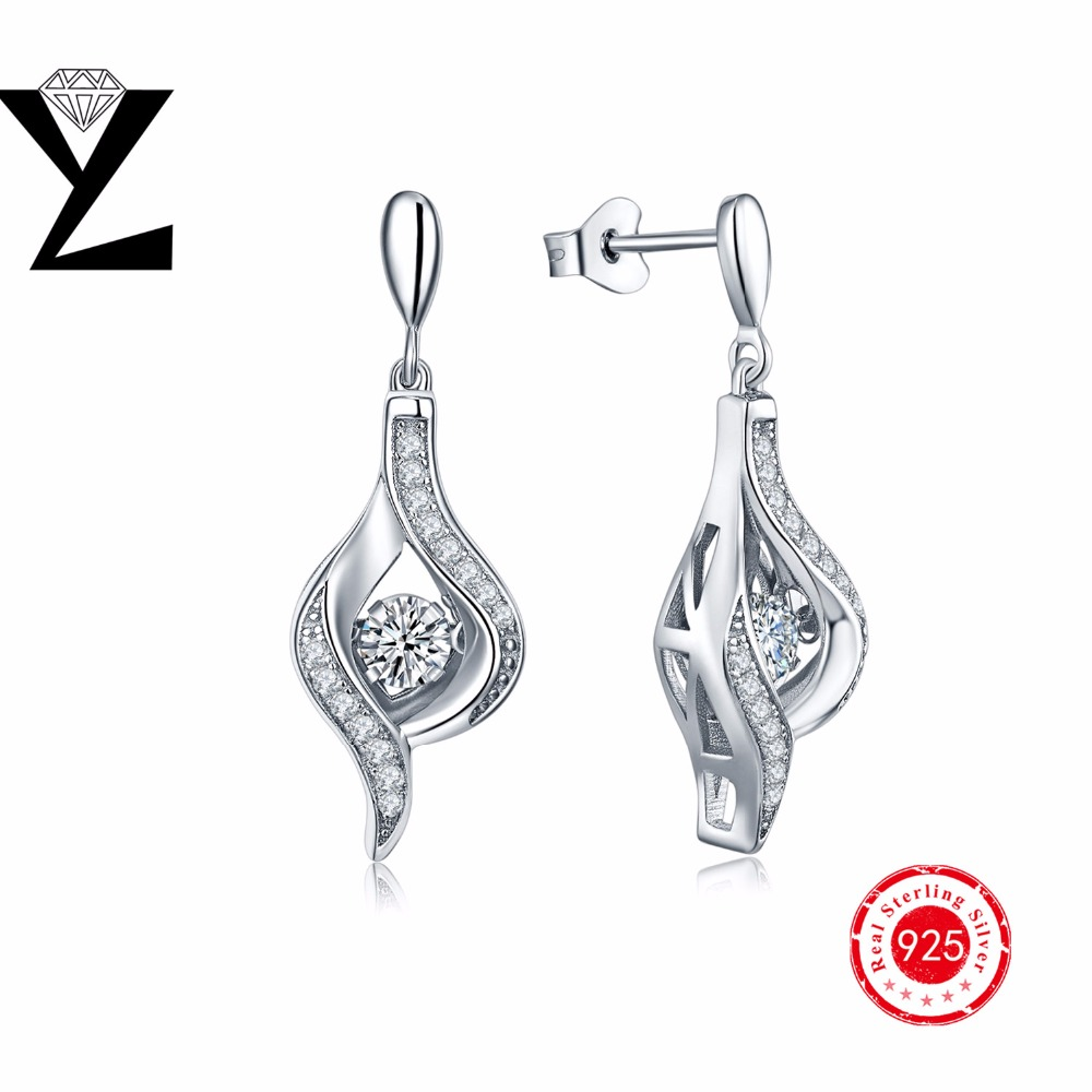 Trendy Real Silver 925 Gold Plated Earrings for Women with Dancing CZ Diamond Hanging Earrings Fashion