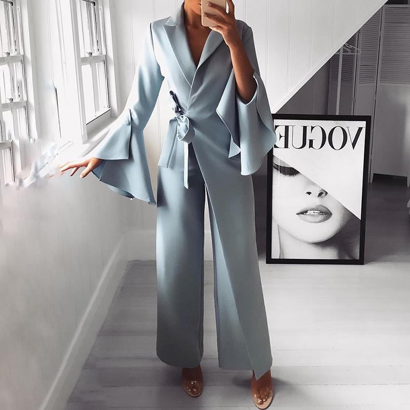2020 Autumn Women Fashion Elegant Long Sleeve Workwear Formal Party Romper Irregular Flared Sleeve Knot Side Wide Leg Jumpsuit